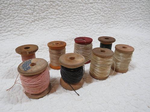 8 Wood Thread Spools blues Vintage Items