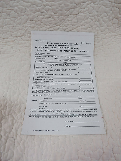 NOS Form for Motor Vehicle Certificate of Payment Sales MA 1960's