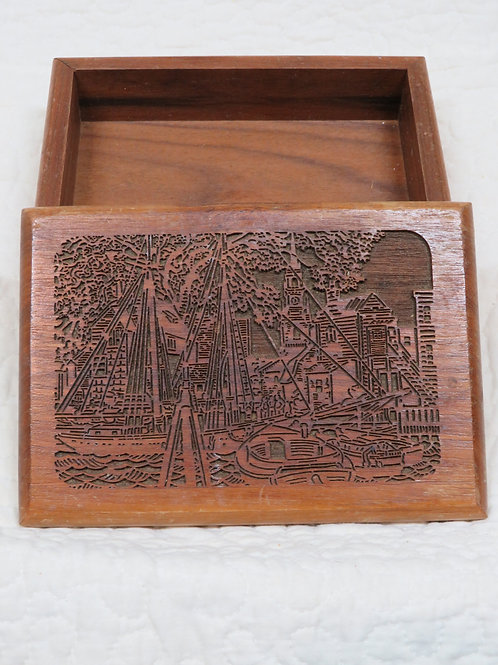 Wood Box with Sea Scape Sailboat carved scene Vintage item
