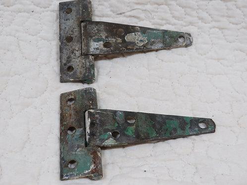 2 Metal Hinges Vintage