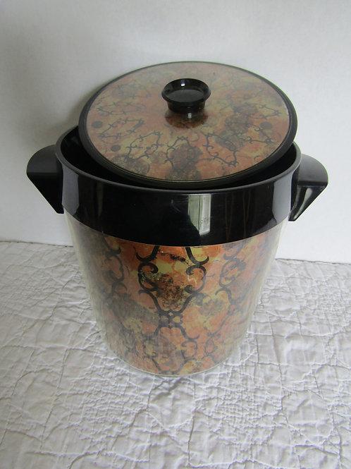 Ice Bucket Thermo Serv West Bend Black Gold Orange Retro Design 1970s Ba