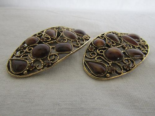 Shoe Clips Amber metal Musi Vintage