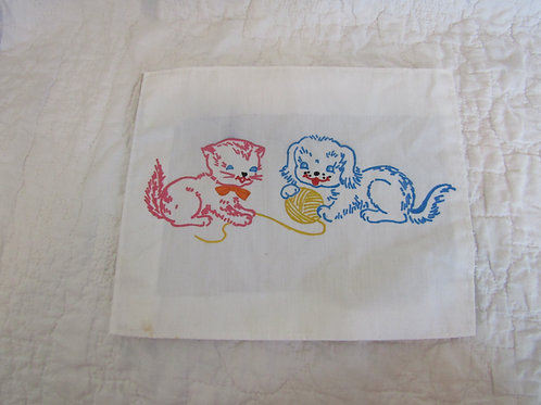Vintage Cotton Panel with a Puppy and Kitten