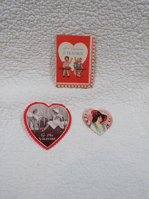 3 NOS Valentine Cards Vintage