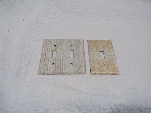 2 Metal Light switch covers woodgrain metal vintage