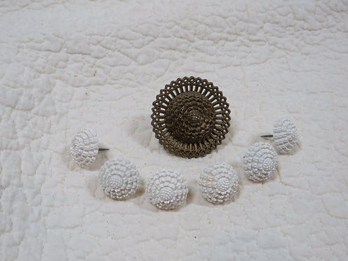 7 Curtain / Drapery Pins White  & Brown Vintage