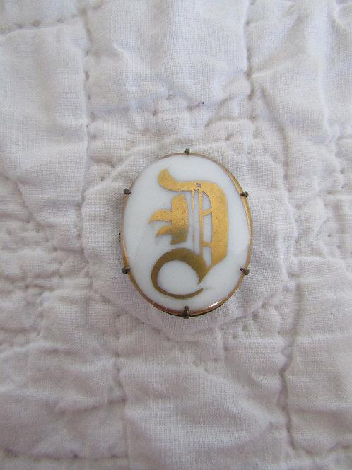 Monogram D Brooch with brass back Vintage Item