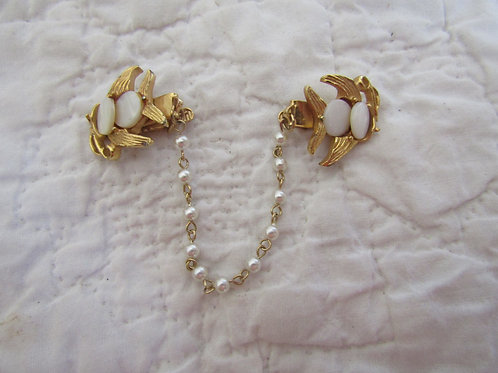 Vintage Sweater Clip / Sweater Guard with faux pearls, mop Fish on clips