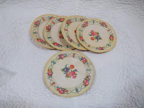 5 Victorian Paper Plates Vintage
