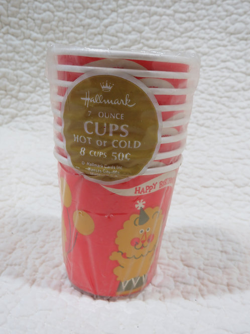 8 Cups Hallmark Happy Birthday Lion design vintage nos