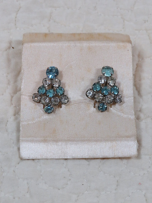 Rhinestone Earrings Screw back Vintage