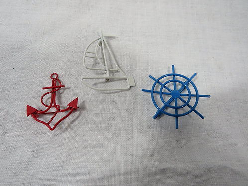 3 Nautical Brooches / Pins NOS Vintage
