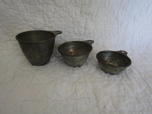3 Vintage Metal Measuring Cups