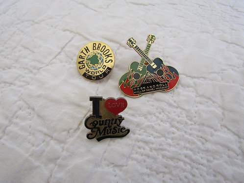 3 Vintage Music pins Metal