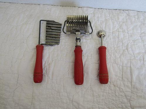 3 Kitchen Tools Red Wood Handles Vintage Lot