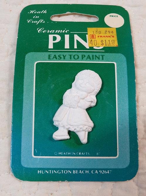 Ceramic paintable little Girl pin vintage Item