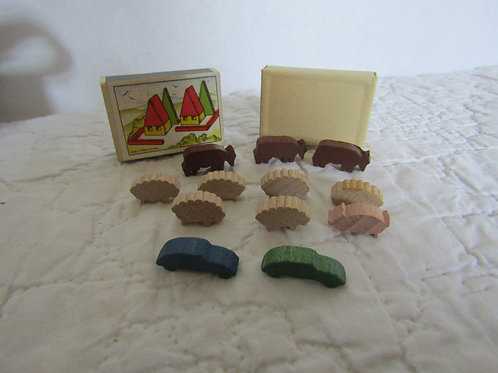 Vintage Miniature Matchbox Wood Sheep Cow Pig and 2 cars