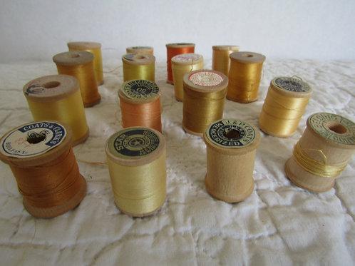 16 Wood Thread Spools yellow orange gold Vintage