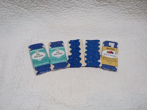 5 Blue Rick Rack Trims nos