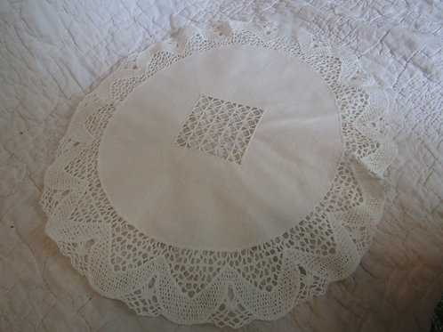 Vintage Round Cotton and Lace Doily