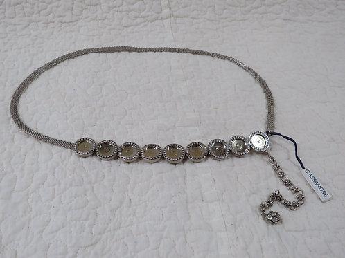 Italian Metal Belt with tags Cassandre Rhinestones silver vintage item