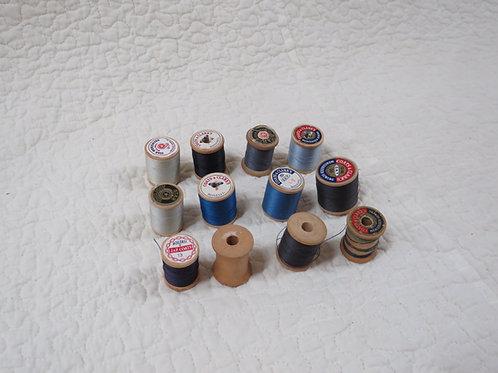 12 Wood Thread Spools blues Vintage Items