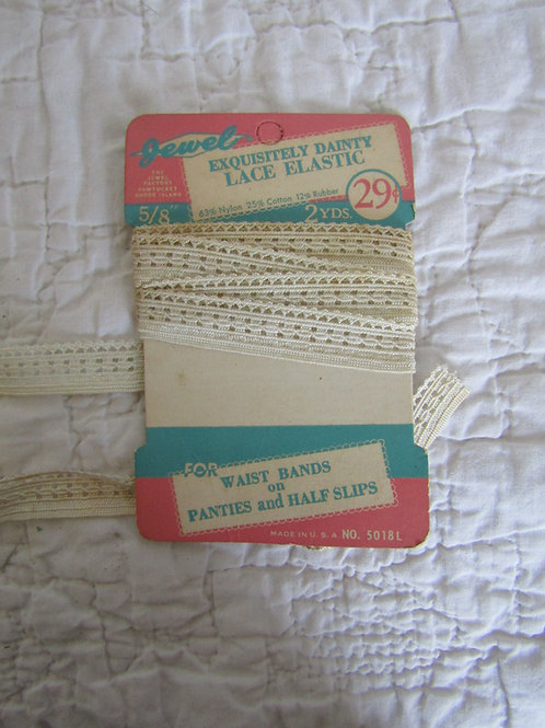 """New Vintage Dainty Elastic Lace 66 inches x 5/8"""""""