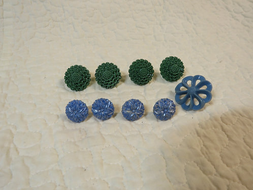 9 Curtain / Drapery Pins Blue Green Vintage