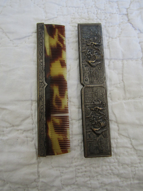 Vintage Brass Cased Tortoise Comb Not Perfect