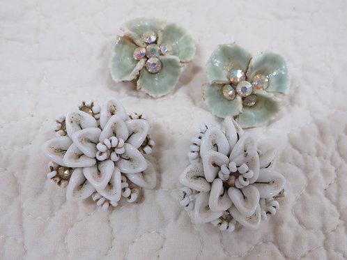 2 Pair Earrings clip back Vintage