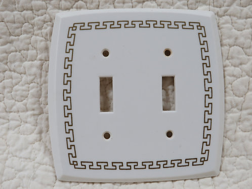 Switch Plate Cover White & Gold Plastic Vintage