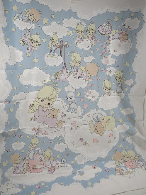Precious Moments Fabric Baby Blanket Panel Vintage
