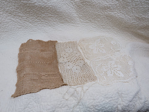 4 Crocheted Doilies great for cutters