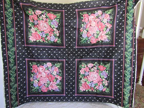 2 Panels Cotton Floral Squares total of 4 squares Cranston Print Works