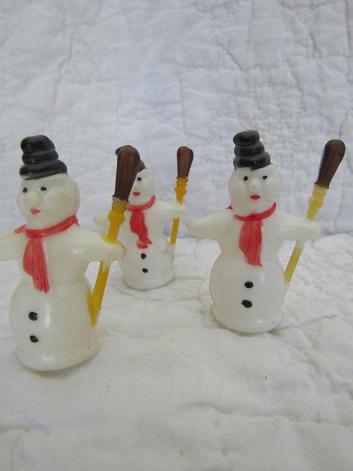 Lot of 3 vintage Plastic Snowmen figures in original pkg.