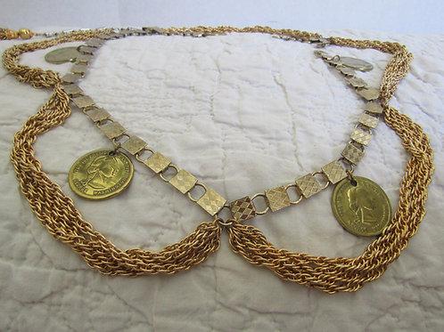 Vintage Gold Tone Metal Belt for Repair or Parts
