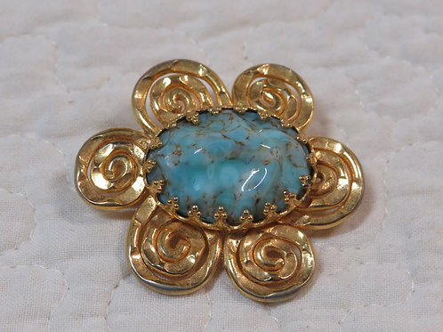 Flower Brooch with Turquoise stone Vintage