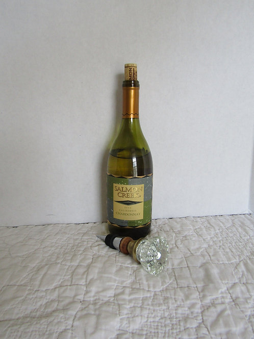 Upcycled Vintage Glass Knob Wine Bottle Stopper one of a kind handmade