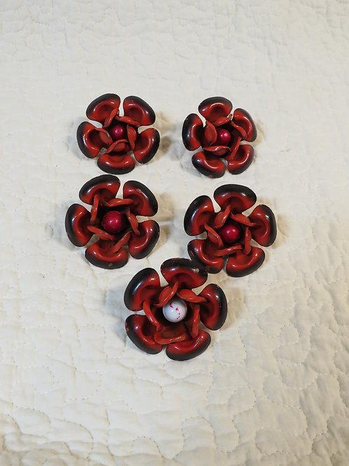 5 Drapery Curtain Flower Pins Vintage