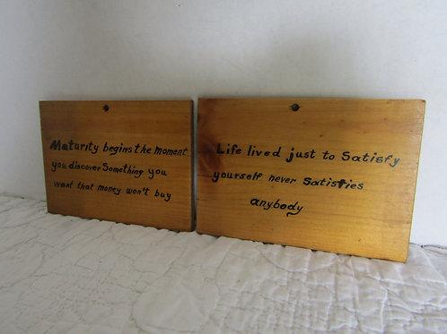 2 Wood Mid Century Signs