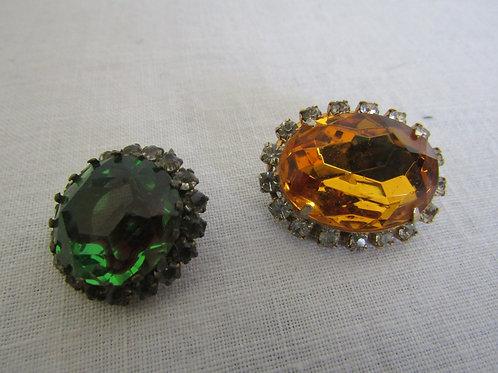 2 Jewelry findings Rhinestone Vintage