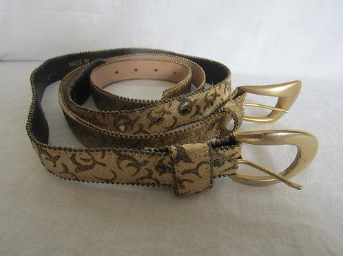 2 Belts Gold Tone Metal Ball Edge Size S Vintage