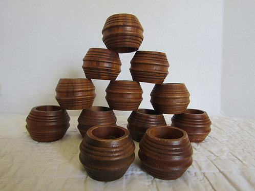 12 Wood Napkin Rings Danish Vintage