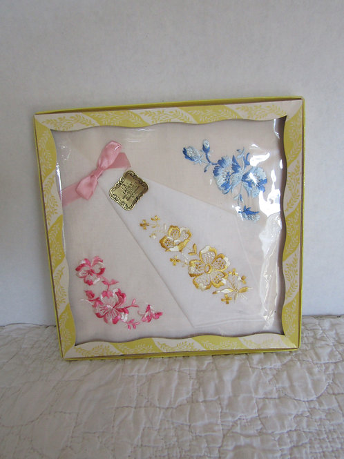 3 Vintage NOS Ladies Handkerchiefs Cotton with Embroidery in original package