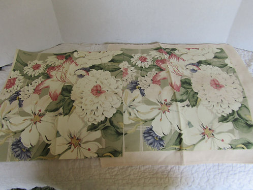 2 Canvas sewing Panels Floral Design marked Williamsburg