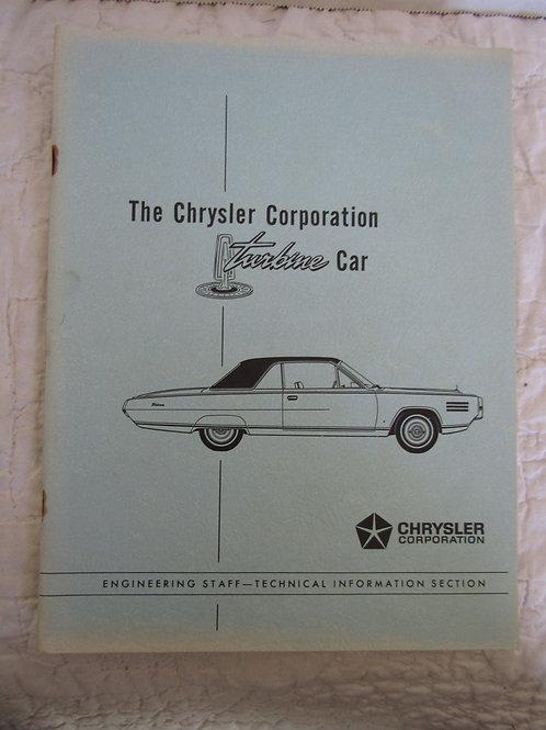 Confidential Print Booklet Turbine Car The Chrysler Corporation Book 1963