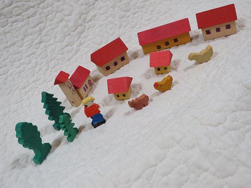 Miniature Wood Handmade Village Vintage