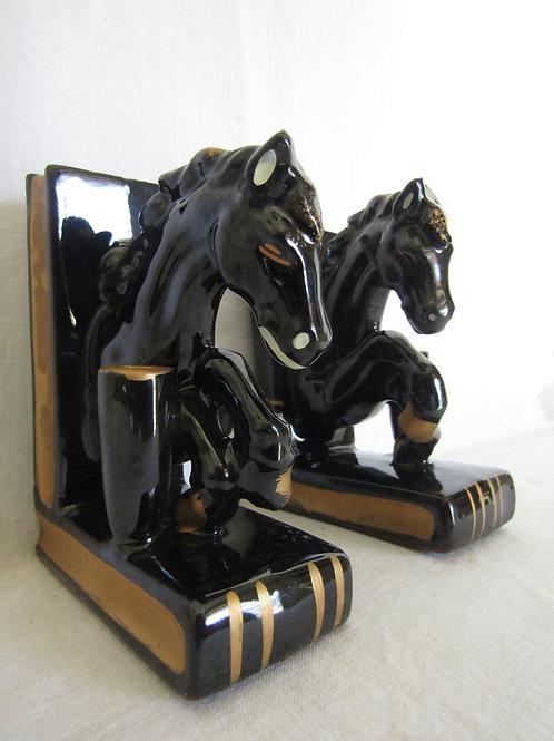 Ceramic Horse Book Ends NOS Vintage