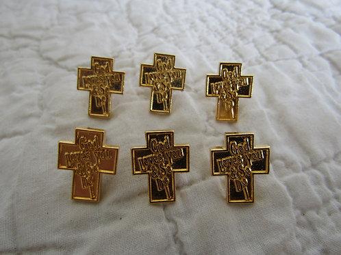 6 Cross Pins vintage nos