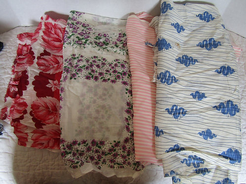 Vintage fabric Lot Smaller Pieces not perfect 4 pieces